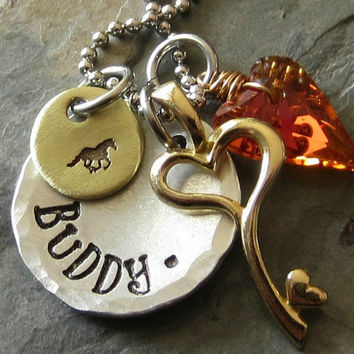 Personalized Horse Charm Necklace- Crystal Heart-Key Charm