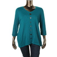 JM Collection Womens Plus Cotton Button Blouse