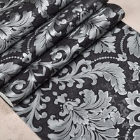 Luxury Modern Metallic Damask Vinyl Wallpaper Embossed Silver Grey Wall Paper For Living Room Tv Background Covering 10 m Roll