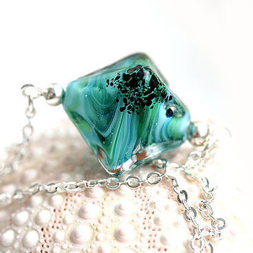 Ocean teal necklace, crystal lampwork glass bead on chain, simple, modern, beach jewelry by MayaHoney