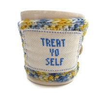 Coffee Cozy Crochet  Treat Yo Self  Parks and by tessacotton
