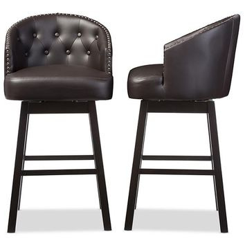 Baxton Studio Avril Modern and Contemporary Brown Faux Leather Tufted Swivel Barstool with Nail heads Trim Set of 2