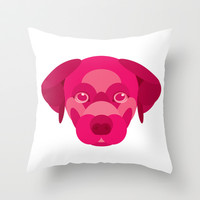 Pink Puppy Throw Pillow by Natalie Ryder