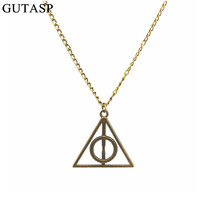 European and American film Harry Potter Harry Potter And The Deathly Hallows Vintage Retro Geometry Triangle Pendant Necklace