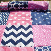 Nautical Baby quilt,navy,hot pink,chevron,Patchwork crib quilt blanket,baby girl quilt,anchors,blanket,modern,fleece,baby girl quilt,toddler