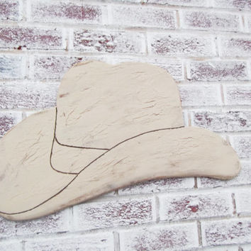 Rustc Country Wedding decor - COWBOY HAT shaped sign - Southern wedding, cowboy nursery theme, man cave