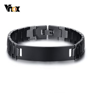 Vnox Engravable Name ID Bar Bracelets for Men Stainless Steel Link Chain Male Black Color 7.6 inch