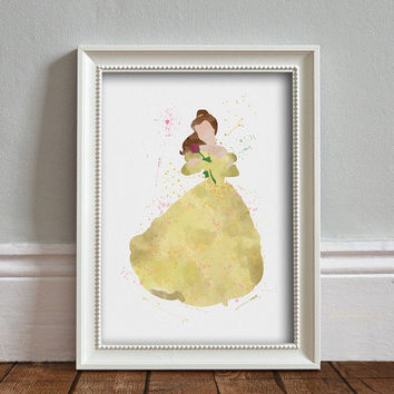 Belle, Beauty and the Beast WATERCOLOR Art illustration, Disney Princess, Wall Art, Nursery, Digital Poster Print, INSTANT DOWNLOAD