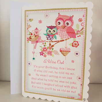 Owl poem-birdy-shabby chic-greetings card-great for all ages-birthday card- handmade blank crazy bird friendship card- my friend grpwing old