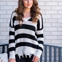 Caught Up In The Moment Striped Sweater : Black/White