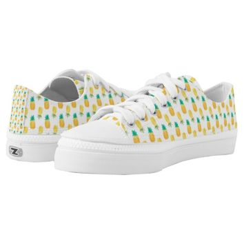 Tropical Hawaiian Watercolor Pineapple Patterned Printed Shoes