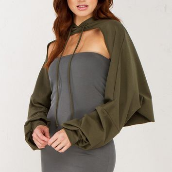 Hooded Layer Top in Olive and Black