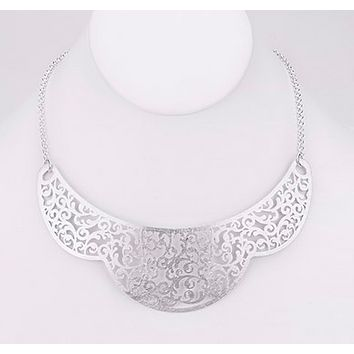 Brushed Filigree Crown Collar