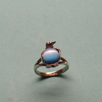 Sterling Silver Penguin Ring With Blue Stone
