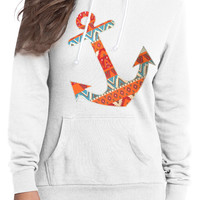 white tribal style anchor hoodie
