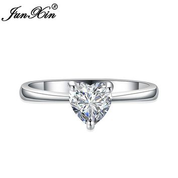 JUNXIN 10 Colors Women Heart Ring White Gold Filled AAA Zircon Ring Fashion Wedding Rings For Women Birthday Stone Jewelry