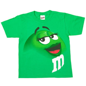 M&M's Candy Character Face T-Shirt - Youth - Green - Large