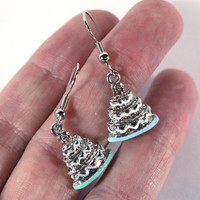 Silver Layered Engagement Wedding Cake Mismatch in Mint Green and Light Blue Metal Charm Earrings - Womens Jewelry - Accessories - Party