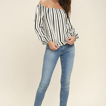 Billabong Mi Amore Black and White Striped Off-the-Shoulder Top