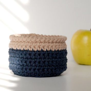 Crochet basket bowl, dark denim blue and tan, beach cottage decor, minimalist decor, nature lover gifts, dorm room decor, storage solutions