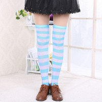 New Hot Stripes Over the Knee Turquoise White Thigh High Stretchy Socks 60cm*23.6""