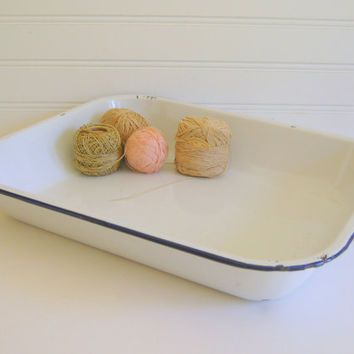 Vintage White Enamel Tray by RollingHillsVintage on Etsy