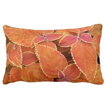 Orange Coleus Floral Lumbar Pillow