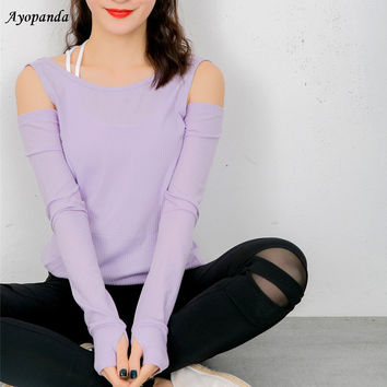 Ayopanda Lavender Women Yoga Shirts Longsleeve Tumb-hole Fitness Yoga Top Sexy Leak Shoulder Halter Sports Top For Drop Shipping