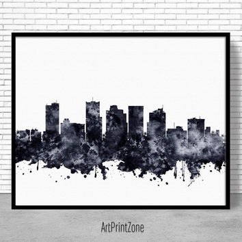 Phoenix Print, Phoenix Skyline, Phoenix Arizona, City Wall Art Office Posters, City Skyline Prints, Skyline Art, Cityscape Art, ArtPrintZone
