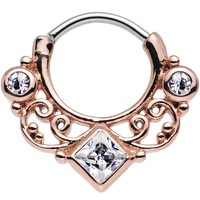 "16 Gauge 3/8"" Rose Gold IP Clear CZ Lahori Palace Septum Clicker"