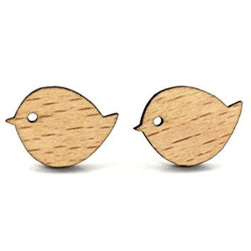 Bird Stud Earrings Vintage Wooden Posts EL27 Fashion Jewelry