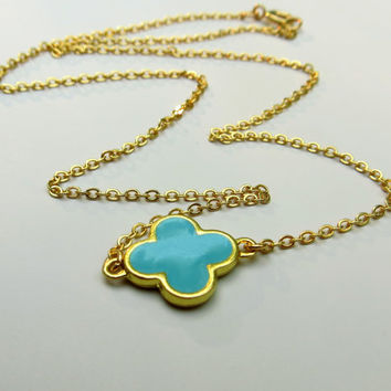 Turquoise Clover Necklace.  Gold Filled Clover Necklace.  Four Leaf Clover. Quatrefoil Pendant.