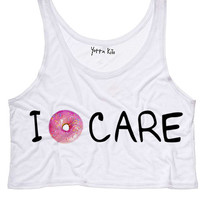 I Don't Care Crop Tank Top
