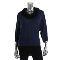 Style & Co. Womens Petites Knit Colorblock Pullover Sweater