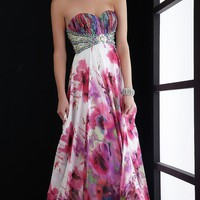 Empire Waist Strapless Print Gown
