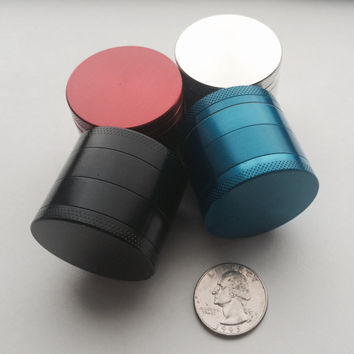 Tobacco/Herb Grinder With Pollen Catcher - Filtration Layer 4 Piece with Scraper  (Four Colours)