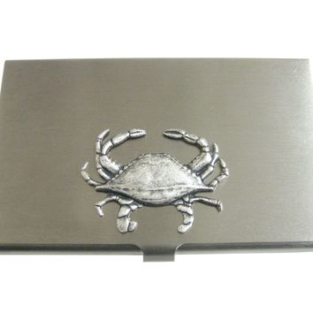 Silver Toned Crab Pendant Business Card Holder