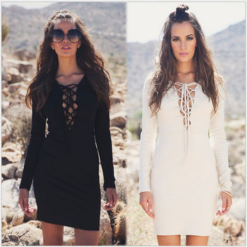 Long Sleeve Lace Up V-Neck Dress