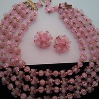 ON SALE Vintage Pink Multi 4 Strand Necklace & Earring Set Mid Century 1950's 1960's Collectible Fashion Costume Jewelry