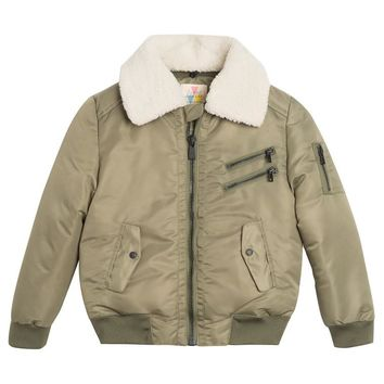 Little Eleven Paris Boys Olive Green Bomber