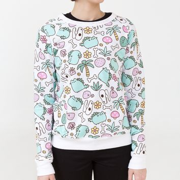 Pusheenosaurus print ladies sweatshirt