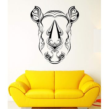 Wall Vinyl Sticker Decal Rhino Horn Head Patterns Flowers Leaves Animal Unique Gift (ed415)