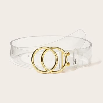 Double O-Ring Buckle Transparent Belt