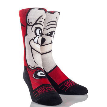 Rock 'Em Elite GEORGIA BULLDOGS - HAIRY DAWG Licensed L/XL Crew Socks