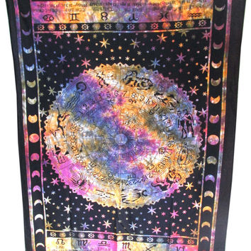 ASTROLOGY Horoscope Zodiac Tapestry Hippie Curtain Wall Hanging Indian Tapestry Throw Bedspread Bed Decor Sheet Ethnic Decorative Art