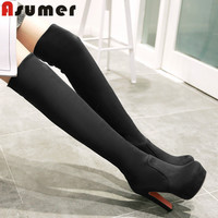size 34-43 fashion autumn high heels round toe platform suede thigh high women boots thigh high over the knee boots