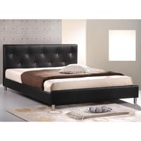 Soft Black Leather Button Tufted Upholstered Queen Size Bed