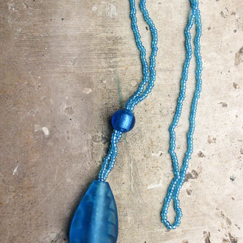 Murano matte aqua glass pendant on Murano bead necklace, Handcrafted in Venice, Italy with murano bead and wax end