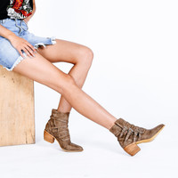 miracle miles - fayth western bootie - khaki
