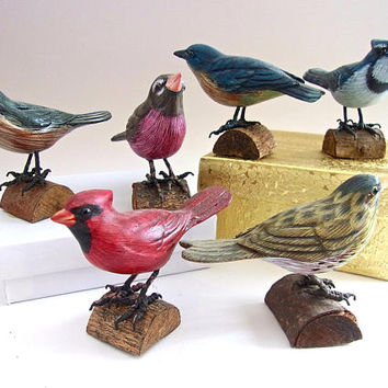 Small STIEFEL Wooden Bird Decoys (6) Collection, Various Colors, Vintage